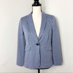 Talbots Blue Houndstooth One Button Blazer Jacket